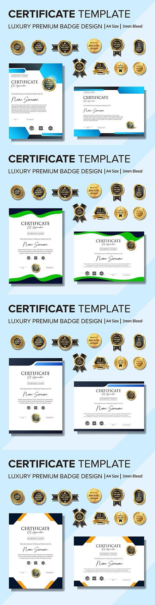 Certificate and premium badges design creative