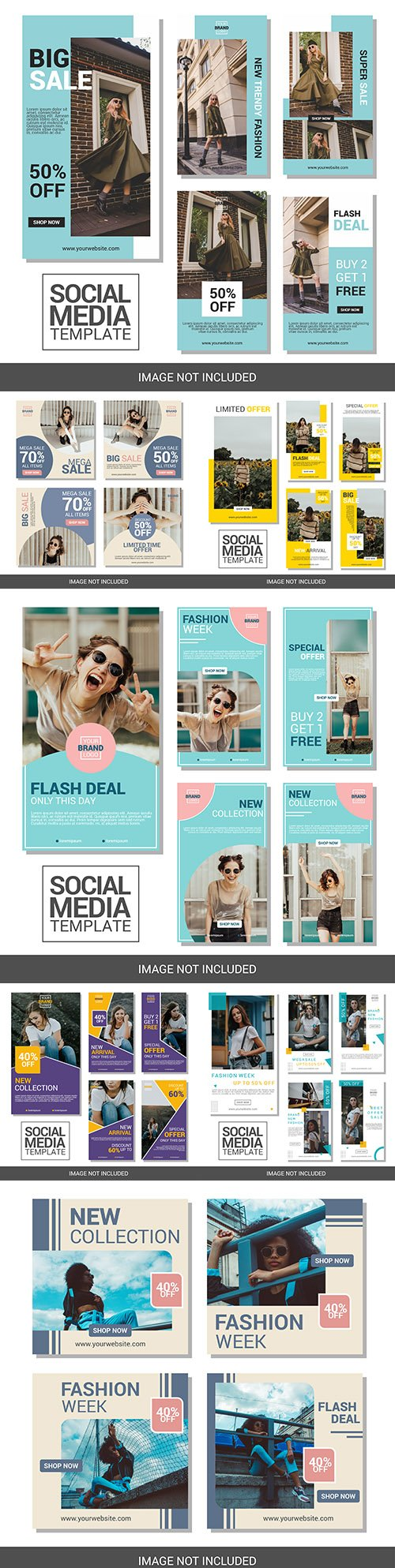 Social story collections instagram and banner design template