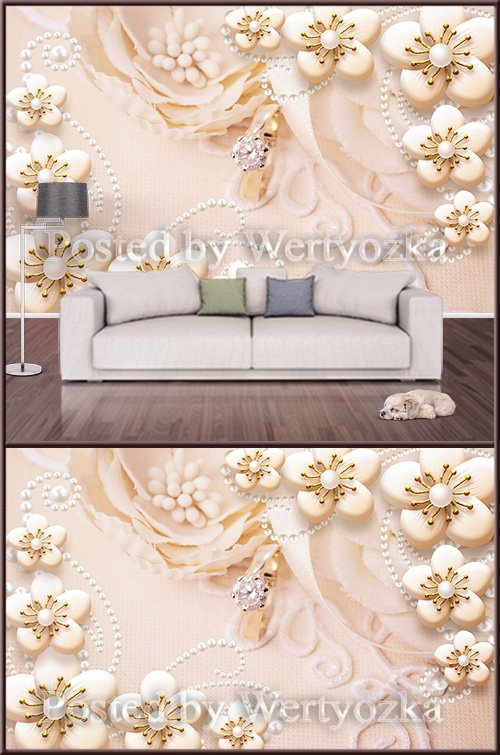 3D psd background wall pearl jewelry and golden flowers