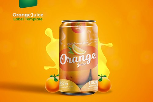 Orange Can Packaging Template