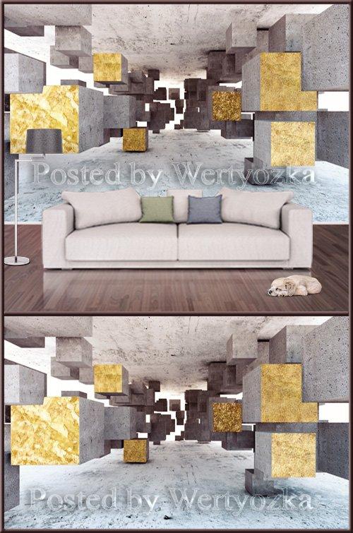 3D psd background wall postmodern three dimensional golden geometric