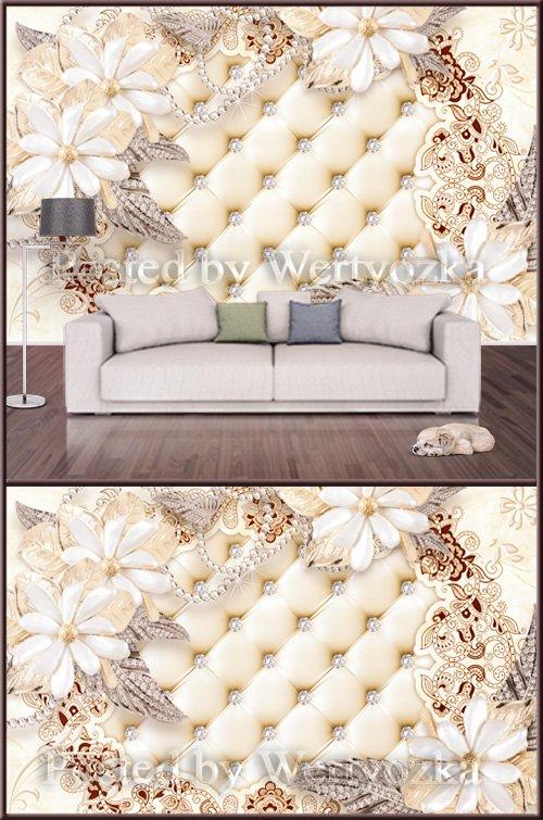 3D psd background wall jewelry flower