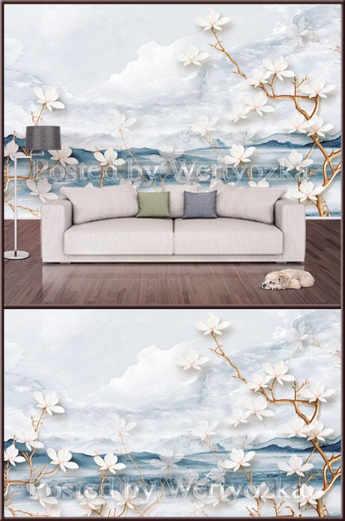 3D psd background wall blue fresh sea flower embossed
