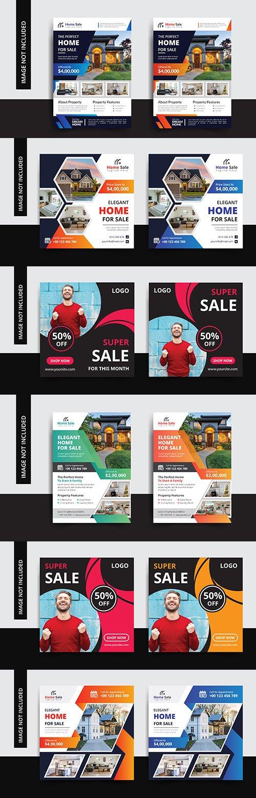 Elegant house and super sale design template