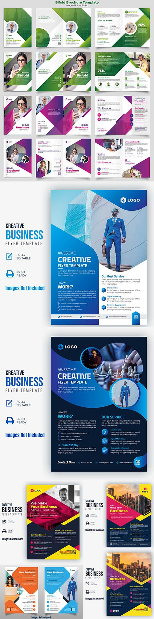 Bifold Brochure Template and Creative Business Flyer Pack