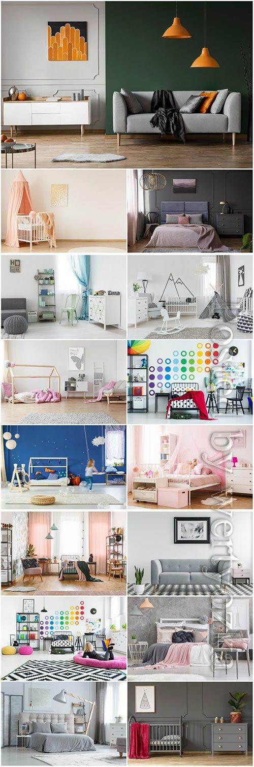 Interior bedroom, living room, children beautiful stock photo