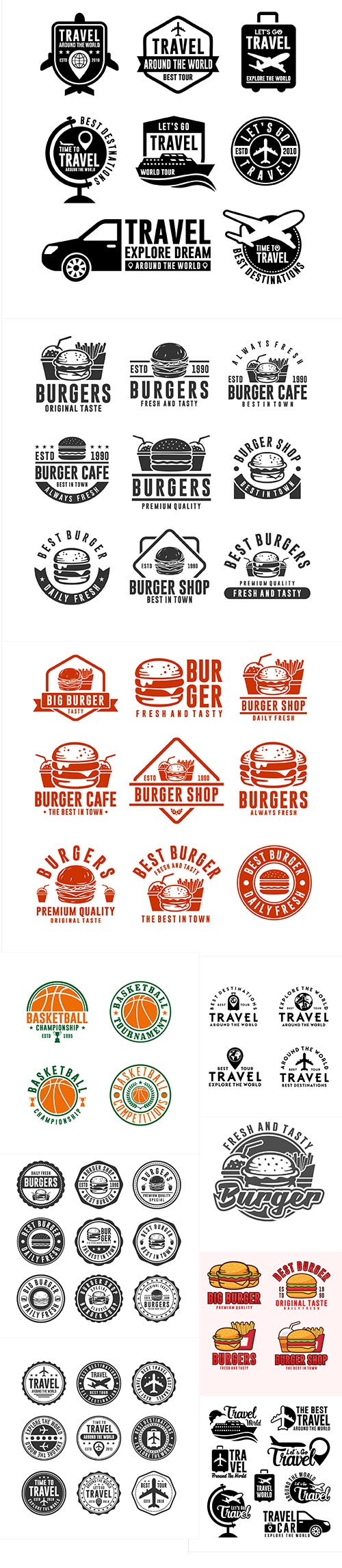 Sport, Travel and Food Logo and Badge Vector Collection