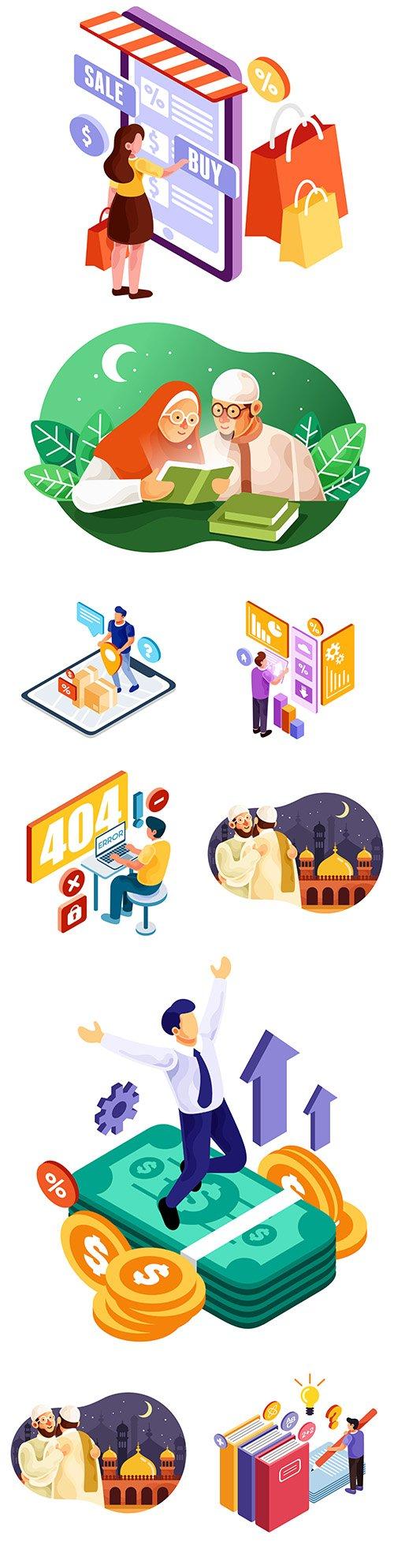 People communicate online isometric illustrations
