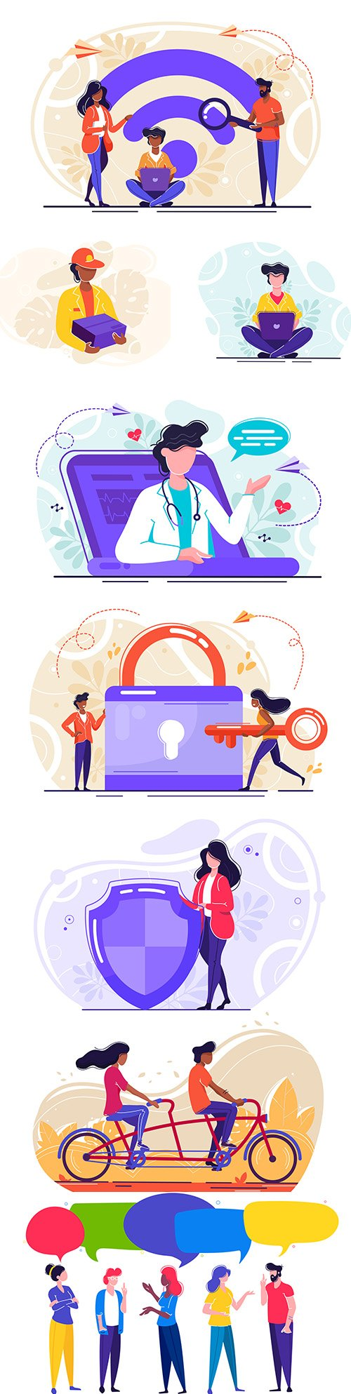 People and objects abstract vector illustrations