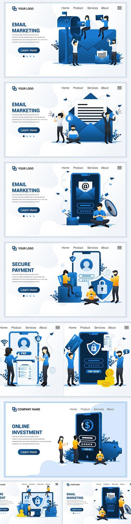 Email marketing landing page flat design