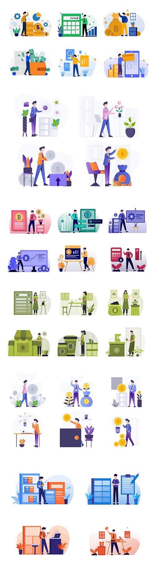 People business investment flat design illustration