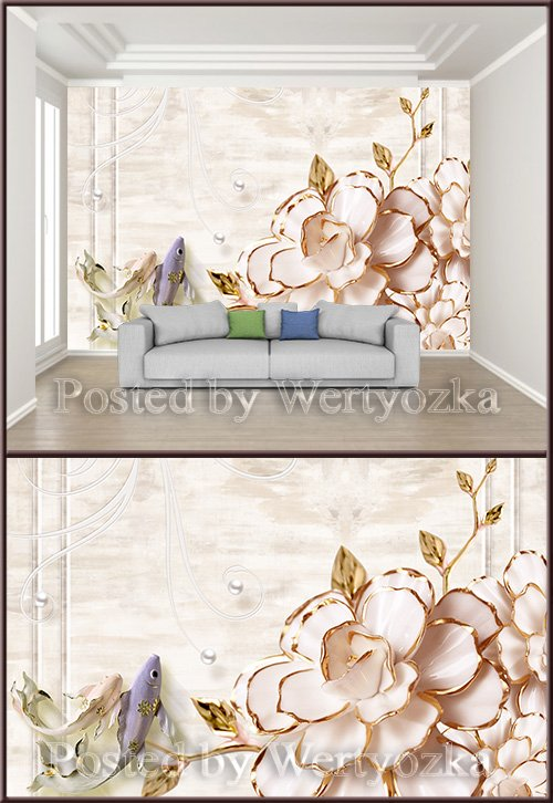 3D psd background wall three dimensional flower squid