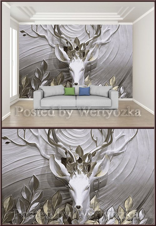 3D psd background wall three dimensional embossed fortune tree elk