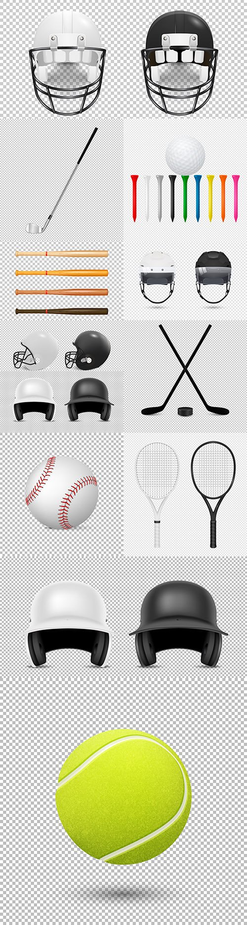 Realistic set sports helmets and design accessories
