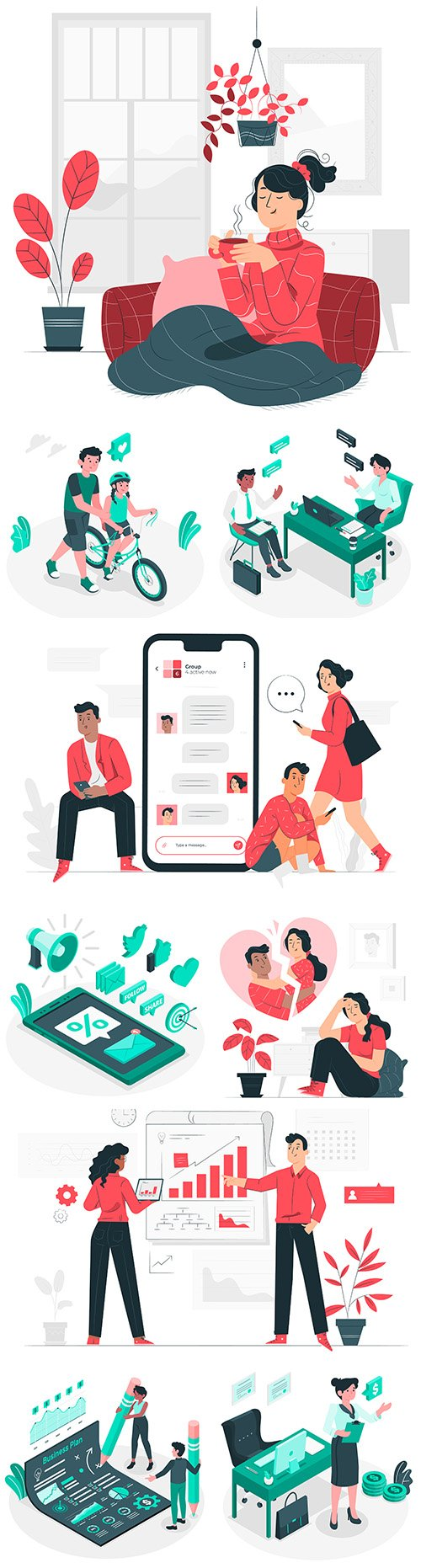 People and business different concept 3d illustration