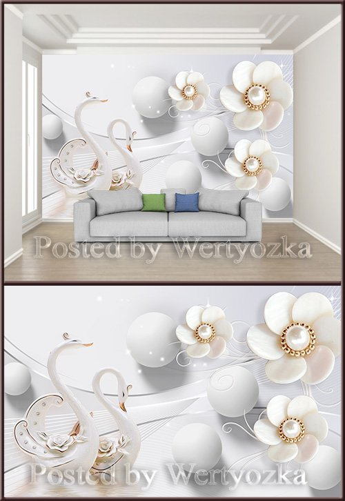 3D psd background wall swan romantic pearl jewelry