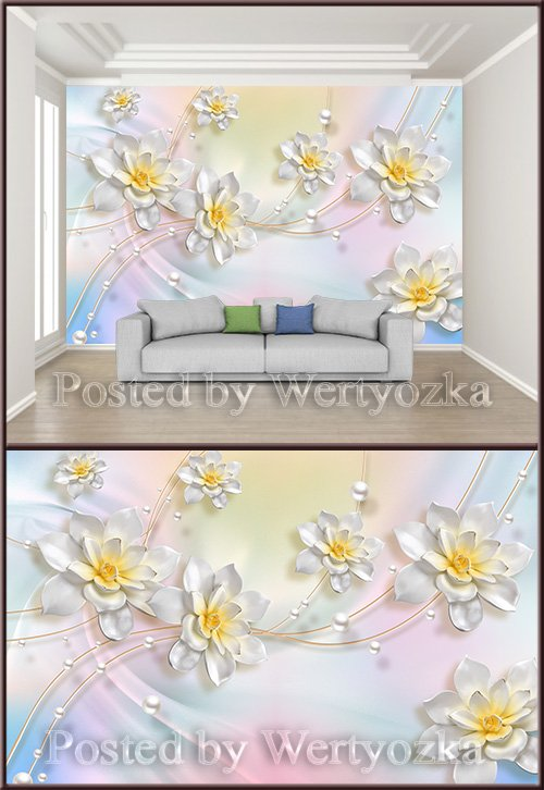 3D psd background wall fantasy jewelry three dimensional flower