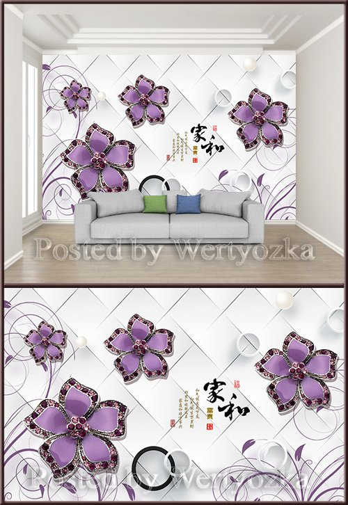 3D psd background wall three dimensional luxury diamond flower