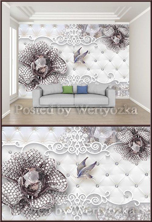 3D psd background wall purple gemstone flower butterfly jewelry