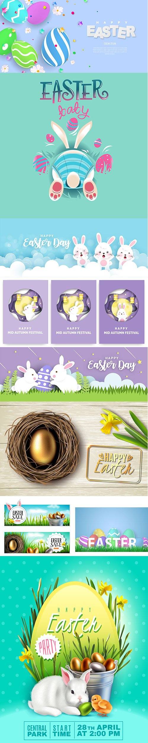 Happy Easter Banner and Illustration