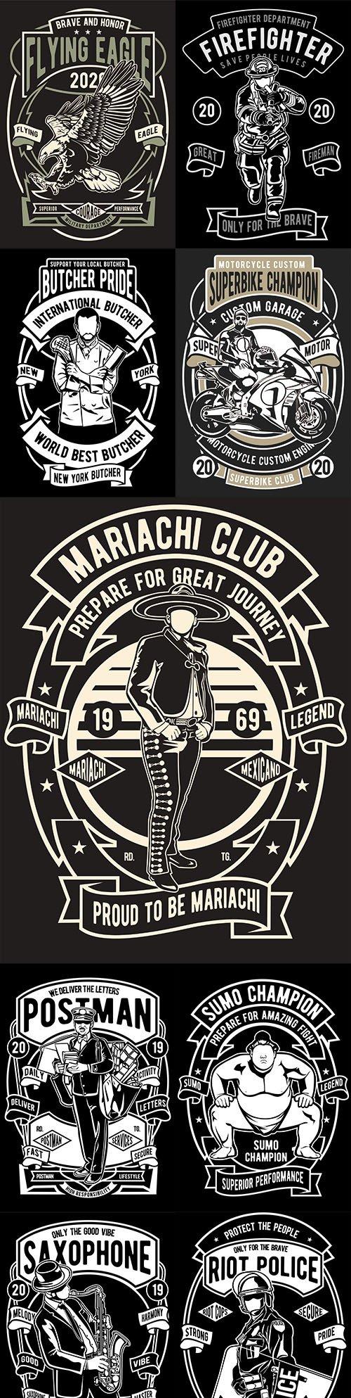 Vintage emblem monochrome design illustrations