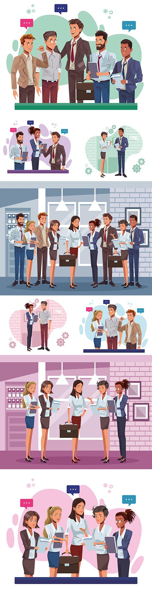Young business people speak working characters