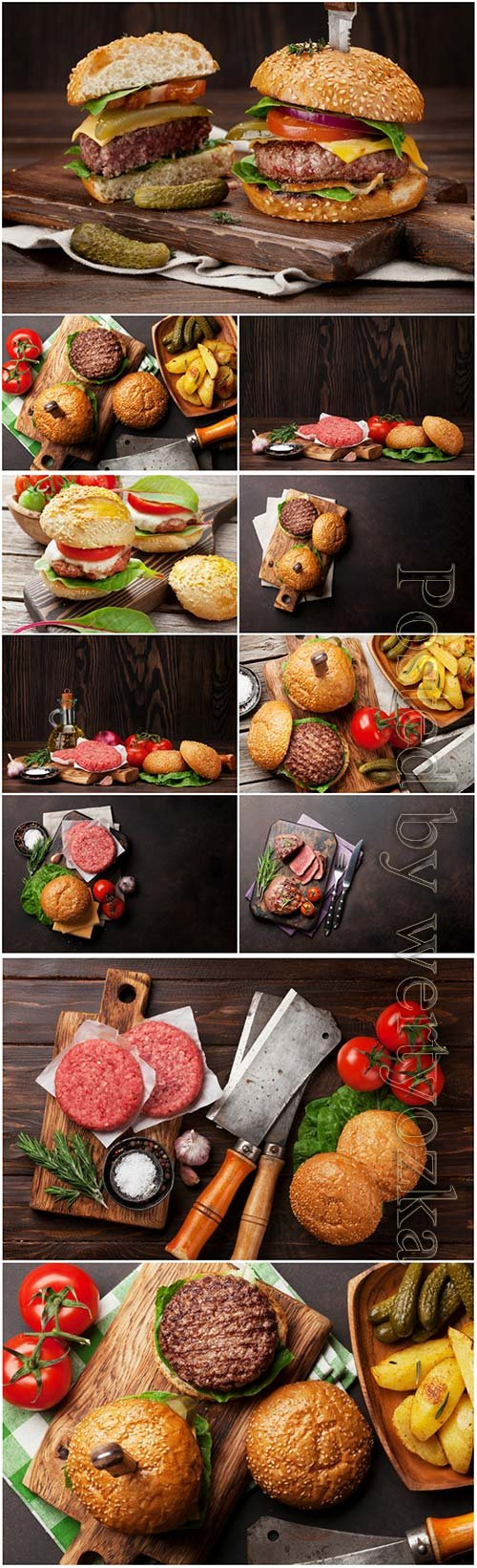 Tasty grilled home made burgers beautiful stock photo