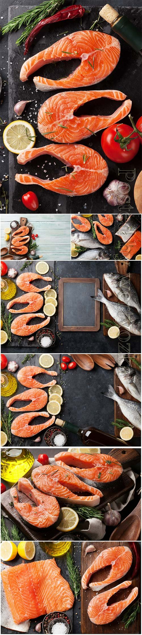 Raw salmon fish fillet beautiful stock photo