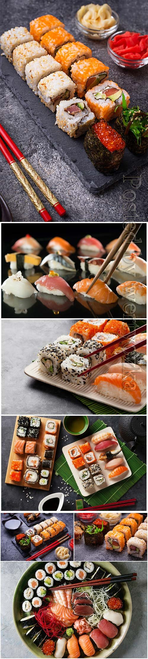 Sushi and roll set beautiful stock photo