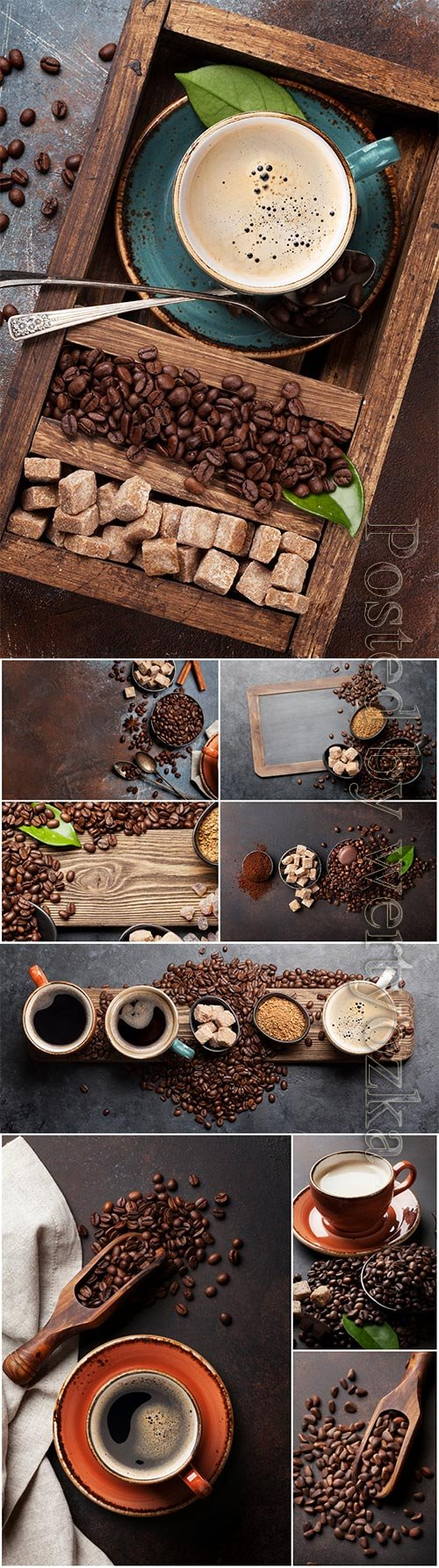 Coffee cup beans and sugar beautiful stock photo