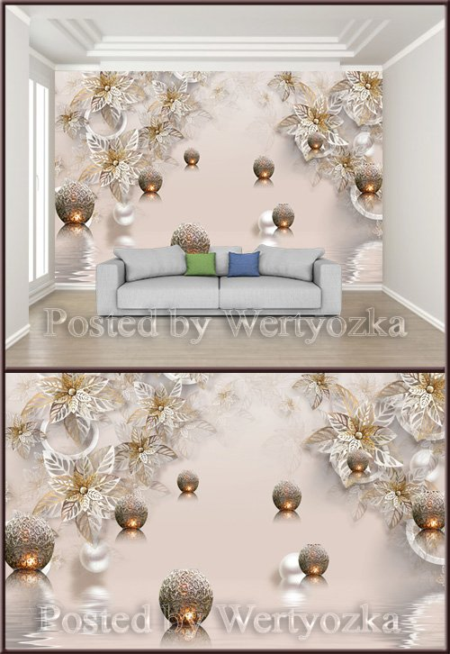 3D psd background wall metal flower jewelry