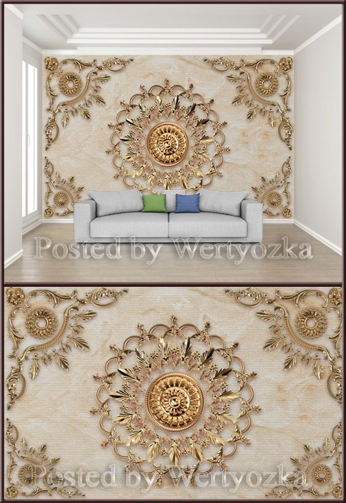 3D psd background wall extravagant wrought iron three dimensional pattern