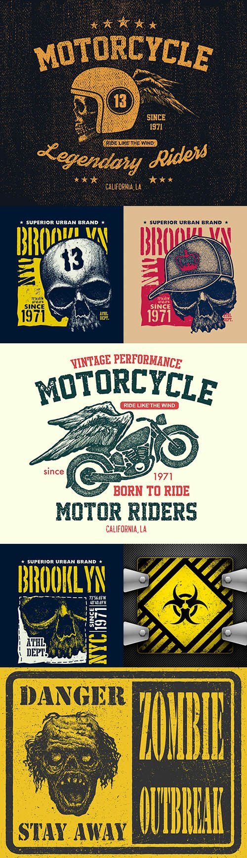 Vintage illustration motorcycle and urban printing house