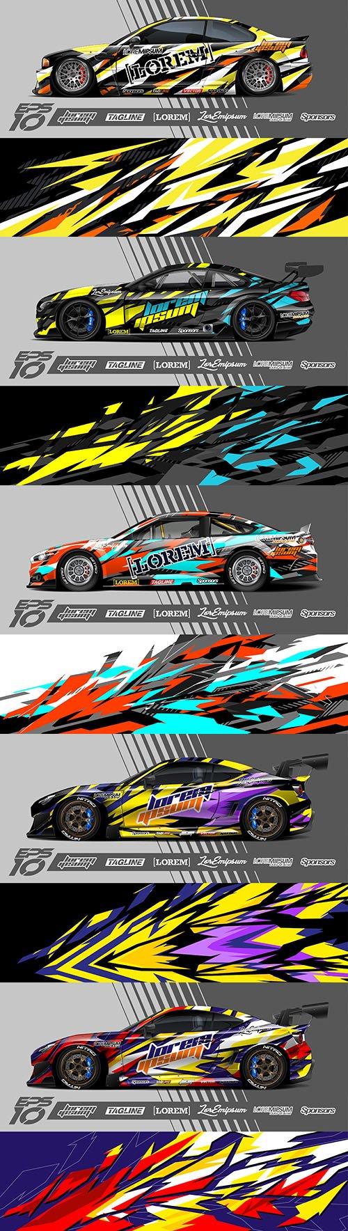 Racing sports car design sticker illustration