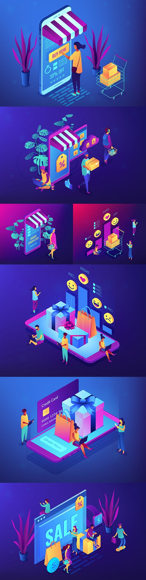 Online gift and shopping isometric 3d concept illustrations