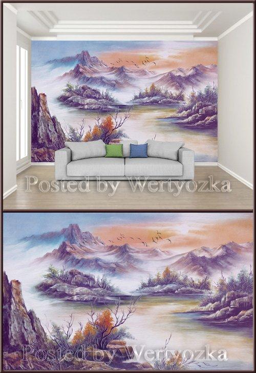 3D psd background wall beautiful artistic landscape