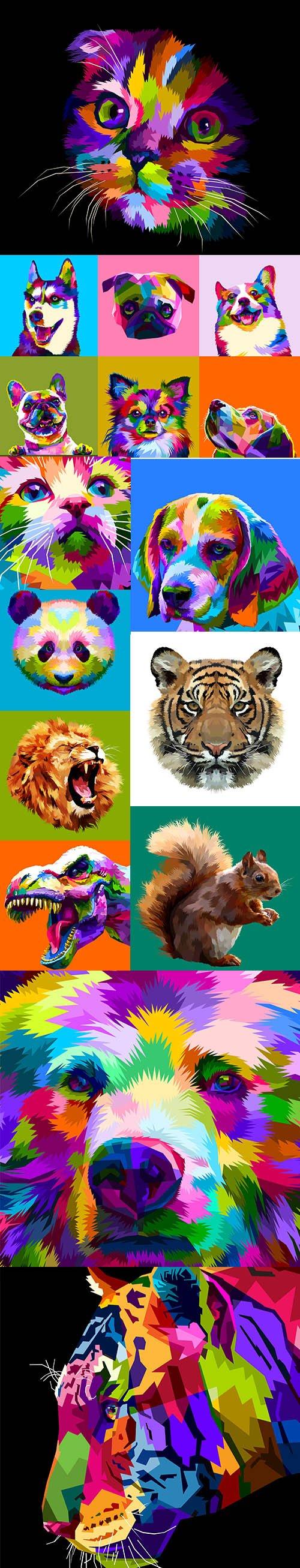 Pop Art Style Animals Illustration