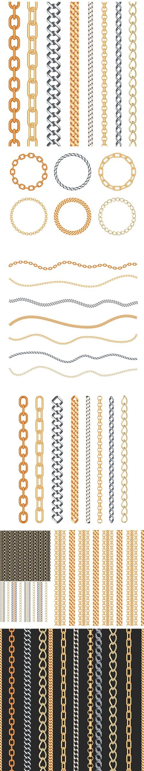 Fashion Golden and Silver Chain with Isolated Jewelry and Seamless Pattern Set