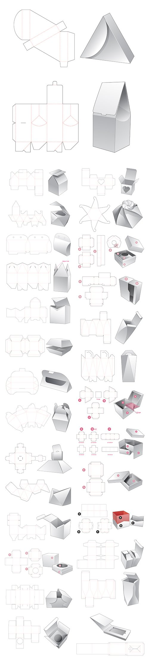 Set of Box with Insert Die Cut Template