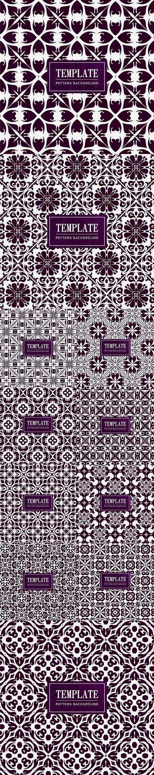 Vintage Decorative Purple Pattern with Ornament Set