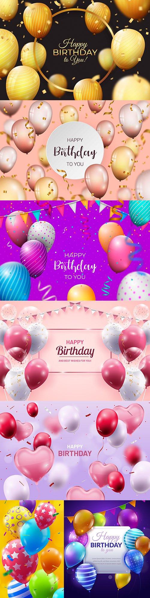 Happy birthday holiday invitation realistic balloons 8