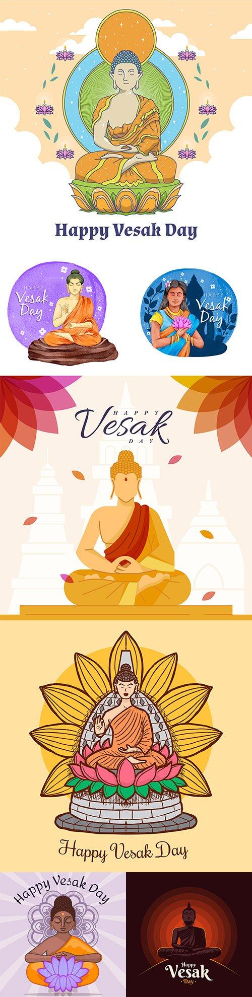 Happy Vesak day Buddhist holiday flat design illustrations