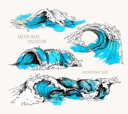 Sketch Ocean Waves
