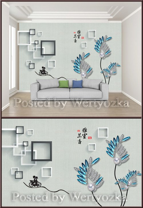 3D psd background wall fashion luxury jewelry flower