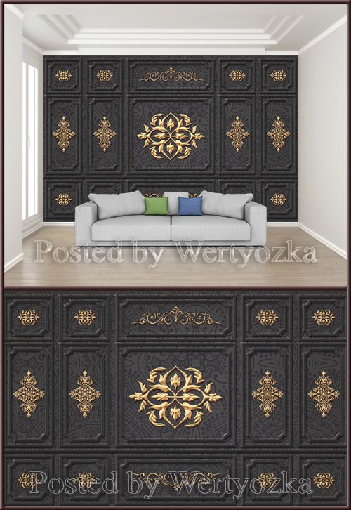 3D psd background wall black gold fashion european style