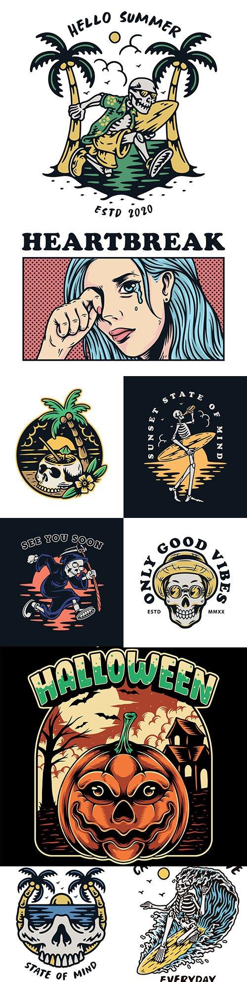 Skull premium illustration vintage design emblems