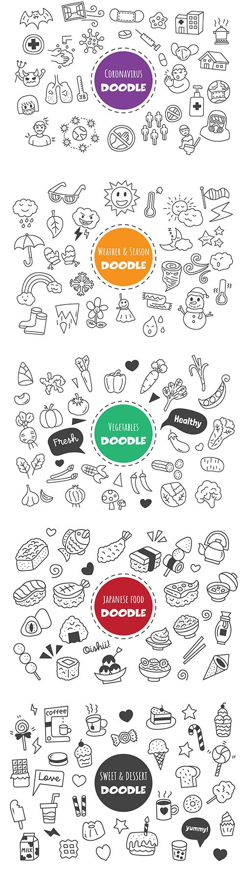Coronavirus and Food Kawaii Doodle