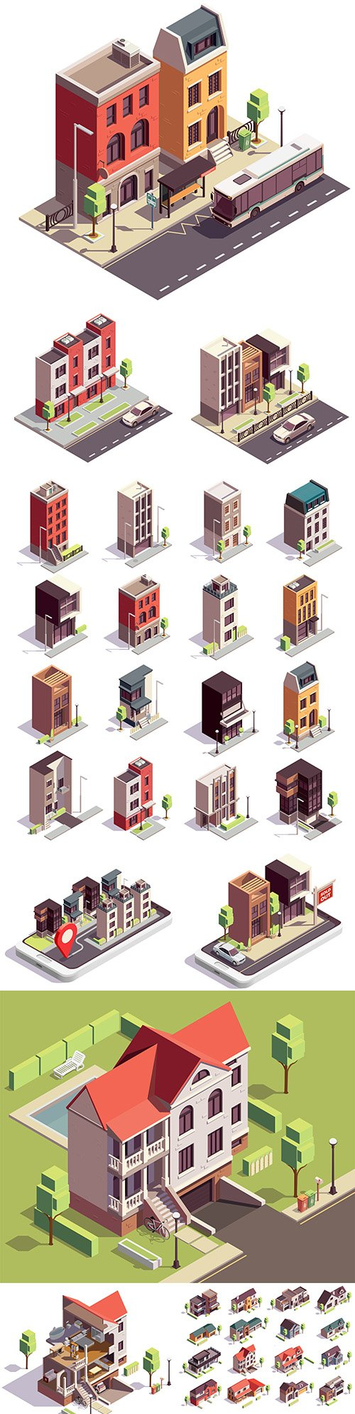 Isometric compositions townhouses overlooking City Street