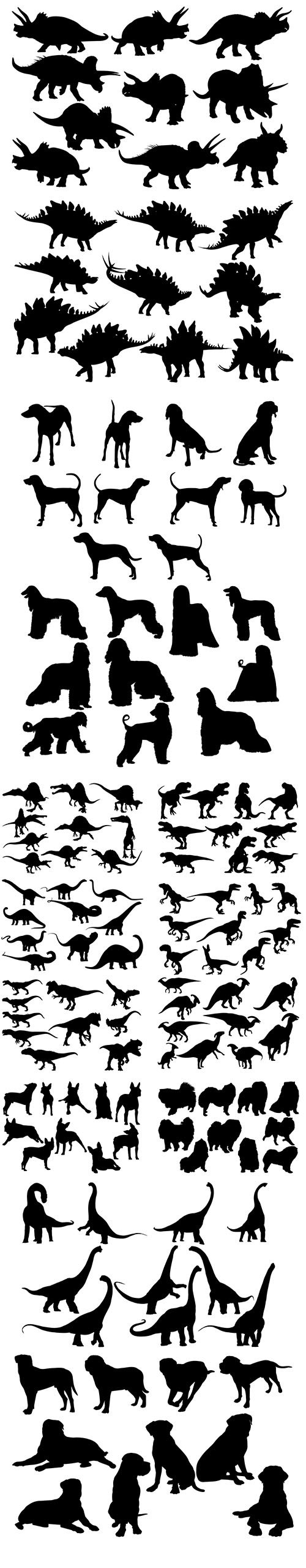 Dinosaur and Dog Silhouette Set