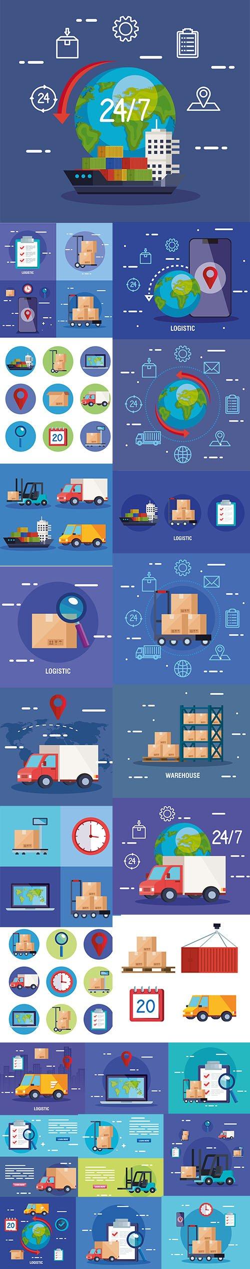 Delivery Logistic Service Illustration Set